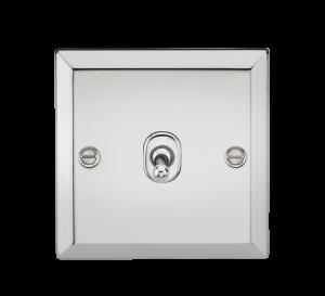 10A 1G Intermediate Toggle Switch - Bevelled Edge Polished Chrome-CVTOG12PC-Knightsbridge