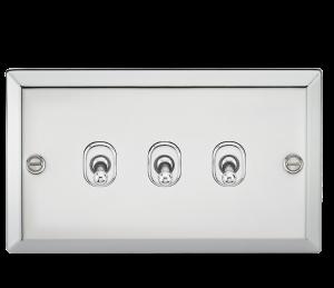 10A 3G 2 Way Toggle Switch - Bevelled Edge Polished Chrome-CVTOG3PC-Knightsbridge