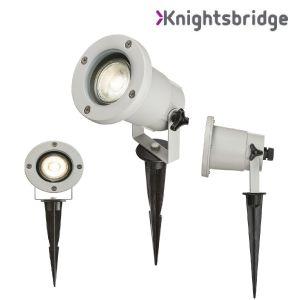 Knightsbridge 230V IP65 GU10 Ground Spike-Grey, Die cast Alluminium,