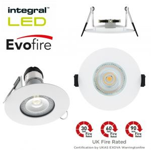 Integral LED Evofire Pack of 4 White Fire Rated IP65 Downlights