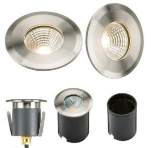 230V IP65 5W LED Stainless Steel Recessed Ground Light 3500K