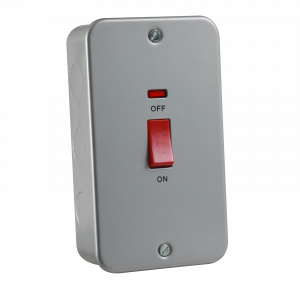 Metal Clad 45A DP Switch with Neon - Large Plate-M8332N-Knightsbridge