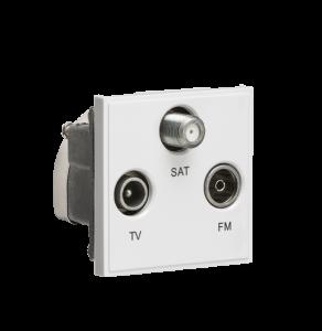 Triplexed TV /FM DAB/ SAT TV Outlet Module 50 x 50mm-NETTRI-Knightsbridge