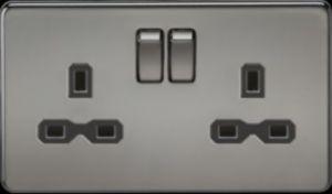 Screwless 13A 2G DP switched socket-SFR9000-Knightsbridge