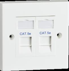 Twin CAT5e Flush Mounted Socket-SX7052WH-Knightsbridge