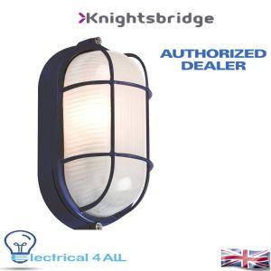 Title:  Knightsbridge IP54 OVAL BULKHEAD - BLACK c/w WIRE GUARD & GLASS DIFFUSER TPOV60B