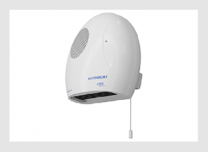 Wall-mounted downflow fan heater with pull-cord switch