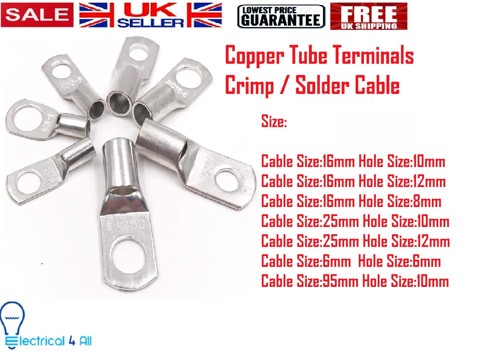 70mm² x 6mm Copper Tube Terminals Crimp//Solder Cable//Battery//Eyelets Lug Ends